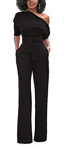 Blansdi Damen Elegant Overall Jumpsuit Schräg Kragenknopf Einfarbig Schulterfrei Hohe Taille Palazzo Weitem Bein Hosenanzug Party Einteiler Clubwear