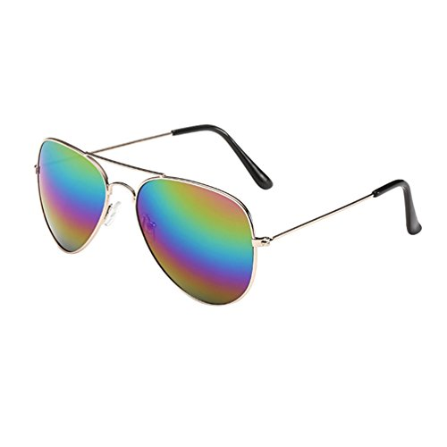Heheja Damen Herren Flat Aviator Pilotenbrille Unisex UV400 Reflektierenden Flieger Sonnenbrille 13