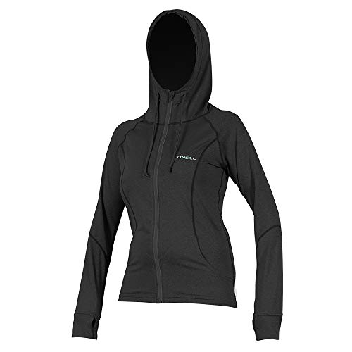 O'Neill Wetsuits Women's Hybrid UPF 50+ Long Sleeve Full Zip Sun Hoodie, Black, Large