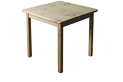 Table solid, natural pine wood 002 - Dimensions 75 x 60 x 60 cm (H x B x T) - low-cost UK light store.