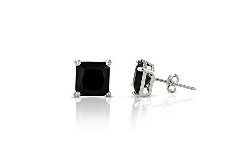 Inscintille Lucciole Orecchini punto luce nero 4mm quadrato in argento rodiato