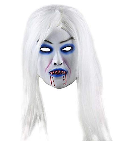 Dämon Realistische Kostüm - FIREWSJ Halloween Maske Weiche Geschenk Maskerade Halloween Maske Horror Scary Realistische Latex Kostüm Erwachsener Tag Vollgesichts Lange Haare Dämon Requisiten