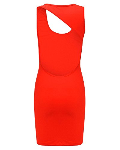 ZANZEA Femme Sexy Eté Mini Robe de Cocktail Gilet Sans Manches Dos Nu Crayon Bodycon Dress Rouge Fluorure