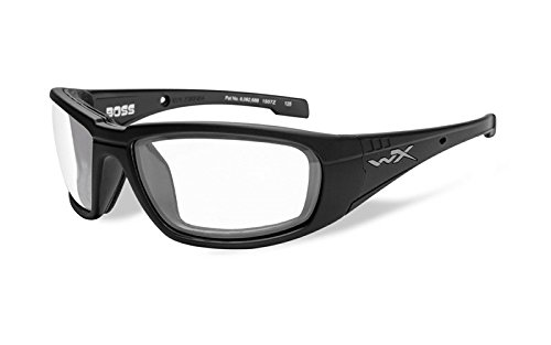 Wiley X Schutzbrille WX Boss Sonnenbrille - Schwarz Matt/Transparent, Medium/Large