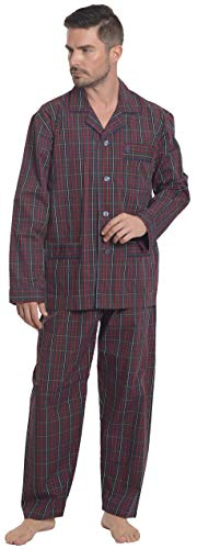 El Búho Nocturno - Herren Karierter Zweiteiliger Pyjama mit Langen Ärmeln | Schlafanzug, Klassische Nachtwäsche für Männer - Popelinestoff, 100% Baumw. - Größe XXL - Rot, Dunkelblau und Weiß