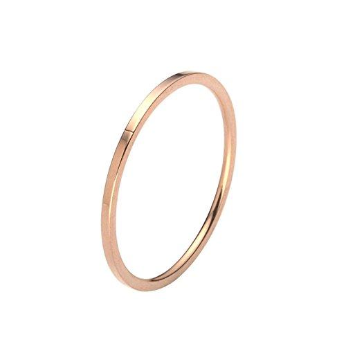 Mount Knebel (SanJiu Schmuck Damen Ringe Edelstahl Ring Glatte Oberfläche 1.5MM Einfacher Stil Mode Freundschaftsringe Eheringe Trauringe Verlobungsringe für Damen Rose Gold Größe 49 (15.6))
