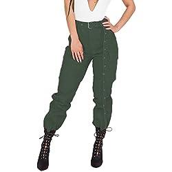 SANFASHION Combinaisons Femme Vêtement de Survêtement Confortable Tops Col V Sexy Pantalons Taille Haut Mode Party (Vert,L)