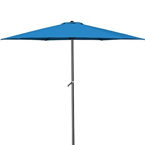 Deuba® Kurbelsonnenschirm I Aluminium I Ø300cm I mit Kurbel + Dachhaube I mit Neigevorrichtung I blau - Sonnenschirm Marktschirm Gartenschirm