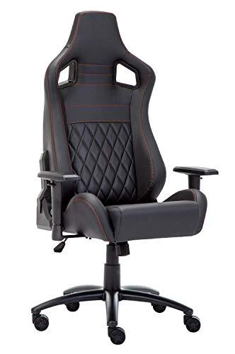 Amoiu Silla Gaming Profesional Racing Silla de Escritorio Giratoria de 360°con Respaldo Alto y Inclinación y Altura Regulable, PU Negro (Negro 3)