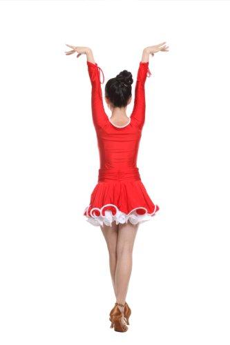 Colorfulworldstore Reguläres Mädchen/Frauen Turnierkleid für Lateinamerikanische Tänze (Lady-S-155CM Höhe, Rot)