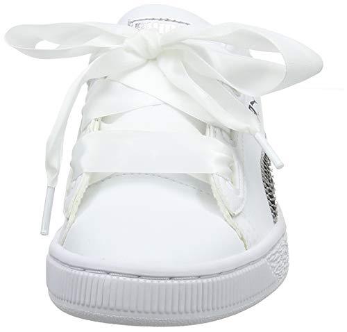 Puma Girls  Basket Heart Bling Jr Low-Top Sneakers  White Silver  4 5 UK 4 5 UK