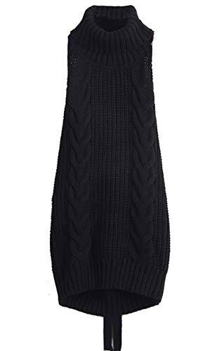 Cheerlife Damen Pullover Jumpsuit ärmellose Rückenfrei Turtleneck Strickpullover Backless Open Back Sweater Cosplay Pullover S Schwarz - Open-back-pullover-kleid