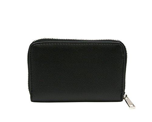 MENKAI moderno disegno della chiusura lampo della borsa del portafoglio scomparti per le carte circolari 1611011 Nero Black