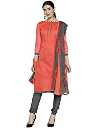 99b2fe5a40 KANCHNAR Women's Chanderi Silk Unstitched Dress Material (701D7013, Orange  and Grey, Free Size