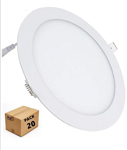 (LA) Pack 20 X panneau LED rond 18 W, Aluminium, Blanc froid (K) 1600 lumens réels .
