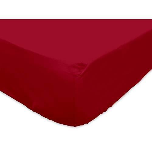 Soleil d'ocre 611807 Drap Housse Coton 57 Fils Uni Rouge 90x190