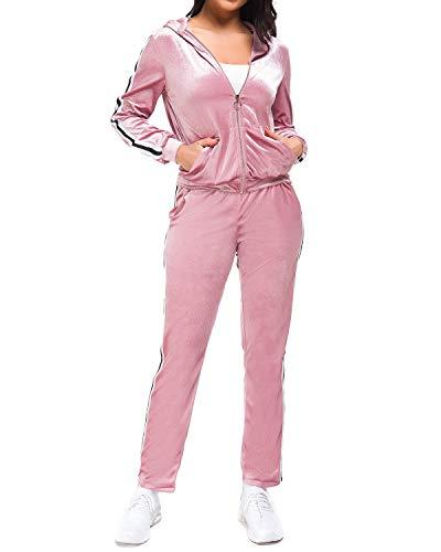 MINTLIMIT Trainingsanzüge Damen Velvet 2 Stück Frauen Reißverschluss Kapuzenpullover Samt Lang Hosen Sport Anzug Set Suit Rosa M