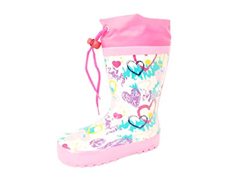 Arial Girls Heart Rubber Wellies/Rain Boots with Drawstring