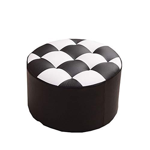 Qing mei-sgabello per divano, panca per la sostituzione della casa - sgabello rotondo in pelle, soggiorno 40x40x26cm a+ (colore : nero)