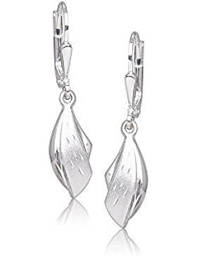 MyGold Damen-Ohrhänger Ohrringe Sterlingsilber 925 Silber 30mm mit hängender Form in Doppeloptik matt und glänzend...