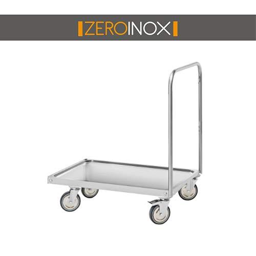 ZeroInox Sackkarre mit 2 Ablagen mit INVASO – Tiefe 50 & 60 cm – alle Maße aus Edelstahl AISI 304 für RISTORANTI, PIZZERIE, Hotel