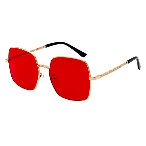 fazry Herren Damen Polarisiert Sonnenbrille Metallrahmen Mode Brille Brillen(rot)