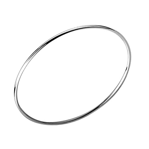 BODYA Silver plated simple smooth plain Infinity bangle Bracelet Thin hoop Slip-On Dome bracelet thick 3mm