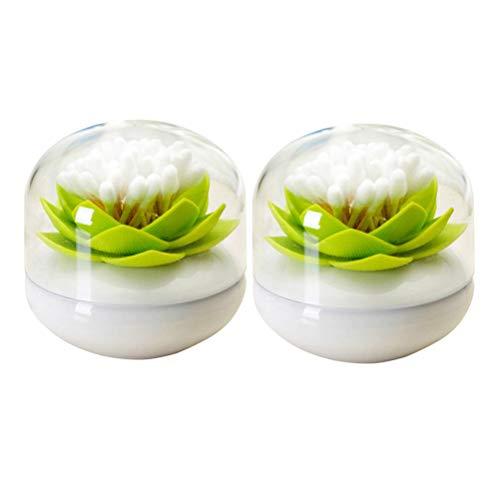 TOPBATHY 2 STÜCKE Lotus Form Zahnstocher Box Wattestäbchen Lagerung Inhaber Kosmetikbehälter-Große (Grün) (Badezimmer Storage Jars)