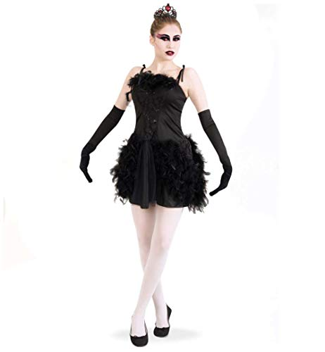Ballett Tänzerin Halloween Kostüm - KarnevalsTeufel Damenkostüm Schwarzer Schwan 1-teilig Kleid in schwarz mit Federn und Spitze Ballerina Gothic Tutu Balletttänzerin (36)
