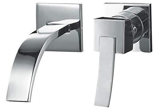 Design Unterputz 2 Loch Waschtisch Armatur Chrom Bad Waschbecken Sanlingo