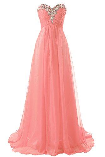 Abendkleider Ballkleider Lang Chiffon Brautjungfernkleid A Linie Damen Festkleid Koralle EUR58