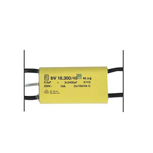 LUTH Premium Profi Parts Entstörschutz 0,2 µF uF 250V 10A Störschutzfilter Kondensator Netzfilter Typ BV 18300/48 für Kleingeräte -