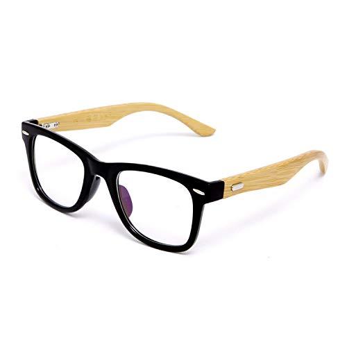 YMTP Bambus Brillen Rahmen Für Frauen Designer Big Nieten Herren Bambus Brille Optisch Blau Schwarz, Mattschwarz