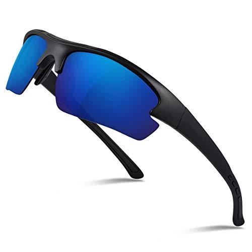 Occffy Polarisierte Sportbrille Sonnenbrille Fahrradbrille mit UV400 Schutz für Herren Autofahren Laufen Radfahren Angeln Golf TR90 (597 Schwarze Matte Rahmen mit Blaue Linse)