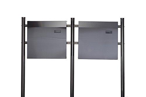 Design Doppel Briefkastenständer SET (Ständer und 2 Briefkästen mit Zeitungsfach ) Edelstahl 120 cm hoch in Silber.HPB38254 + HPB933, Briefkastenanlage Rostfrei