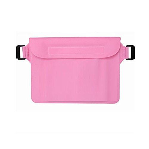 XMDZ Wasserdichte Trockentasche Transparent Beutel Ultra Dry Bag für Wassersport Strand Schwimmen Tauchen Surfen Kajak, Halt Handy Reisepass Wertsachen Trocken Rosa