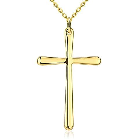 Bodya Plaqué or jaune simple Pendentif Croix Jésus Collier prière religieuse Bijoux pour hommes Femme 1850,8cm