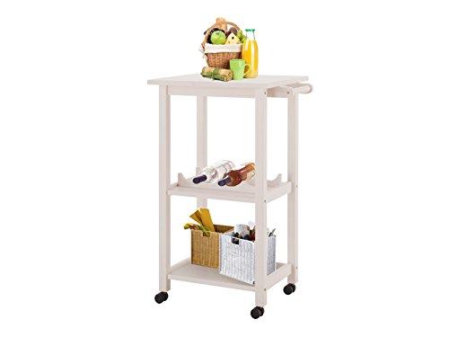 Loft24 ALDO Küchenwagen mit Rollen weiß Rollwagen Servierwagen mit Weinregal Küchentrolley Küche...