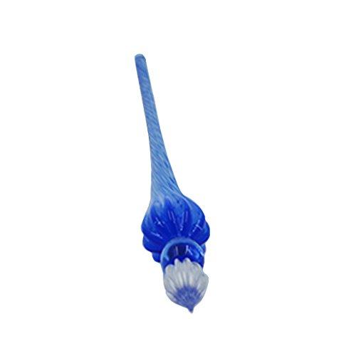 Kcopo Kristall Glas Dip Pen Blumen Muster Unterschriftsstifte aus Glas Vintage Signature Eleganter Kristall Dip Sign Pen Hellblau -