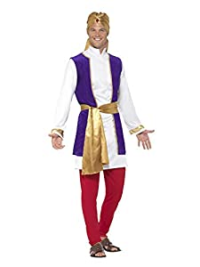 Smiffys 24703L Disfraz de príncipe árabe, con chaqueta, chaleco, pantalón, cinturón, Multicolor, L