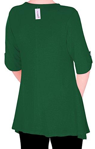 Eyecatch TM Oversize - Haut Tunique manches longues 3/4 large col rond grandes tailles- Jessica - Femme Smaragd vert