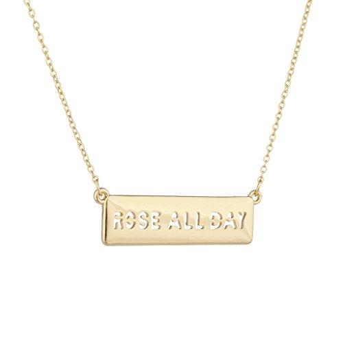 Lux Accessories dorato Prose all Day cut-out lettere bar Verbosità collana