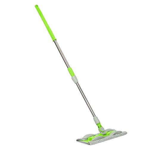 Mamum Drehen Sie den Flachmopp, Hände waschen Flachmopp Holzbodenwischer Staub Push-Mopp zu Hause Reinigungswerkzeuge (grün) zum Vergrößern