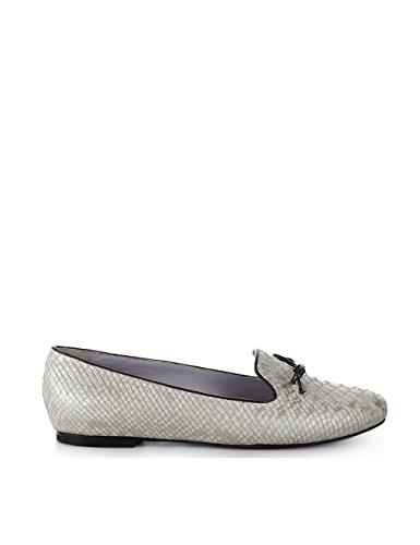 ShoeVita handgefertigte Loafer Damen Leder Slipper Python Schlange Grau Größe 33 - 45 Grau