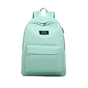 Joymoze Mochila de Color Puro para Niña con Funda para Portátil de 15,6 Pulgadas Cartera Escolar para Adolescente Azul Claro