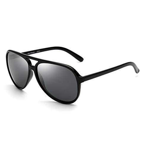 JIM HALO Polarisiert Flieger Sonnenbrille Damen Herren Oversize Plastik Fahren Gläser(Schwarzer Rahmen/Polarisierte Graue Linse)