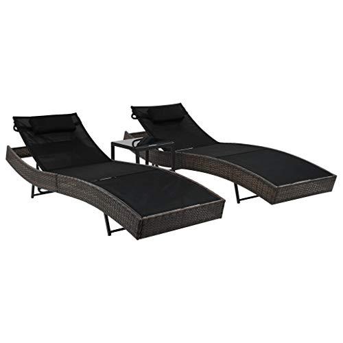 vidaXL 2X Sonnenliege Tisch Poly Rattan Gartenliege Liegestuhl mehrere Auswahl