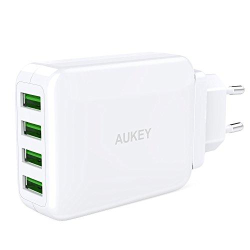 AUKEY-USB-Cargador-con-4-Puertos-de-Adaptador-de-Viaje-con-Enchufe-de-Recorrido-UK-EU-US-AU-Internacional-Intercambiable-para-iPhone-Tablet-Banco-de-Energa