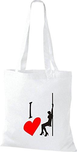 Pochette en tissu i love poledance Acrobaties érotique Sac en coton, sacs, plusieurs couleurs Blanc - Blanc