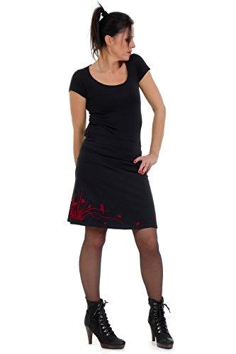 Skater-Rock knielang Damen a-linie Jersey-Rock Frauen Mädchen leger einfach Basic schwarz schlicht rot L Sommer
